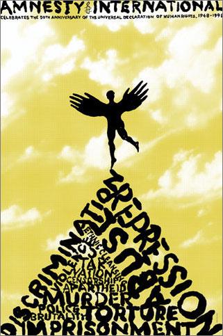 Conjunto de carteles diseñados por Pentagram para el movimiento de defensa de los derechos humanos (Amnistía Internacional).