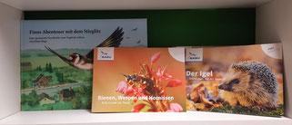 """Kinderbuch """"Stieglitz"""" 12,00 € und Info-Hefte zu Bienen, Wespen und Hornissen sowie dem Igel je 2,50 €"""