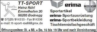 TTF 81 Schomburg e.V. Sponsor TTSport Heinz Röhl, Bodnegg