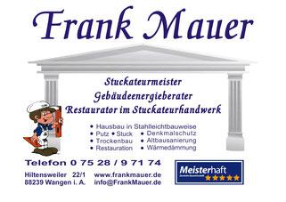 TTF 81 Schomburg e.V. Sponsor Frank Mauer, Stuckateur, Hiltensweiler