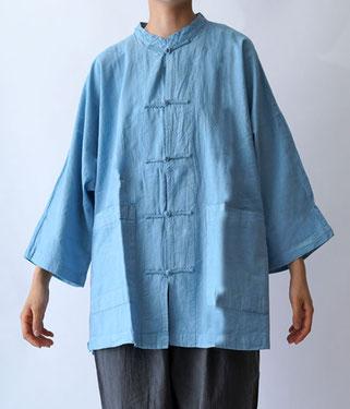 ヂェン先生の日常着 チャイナシャツ七分袖