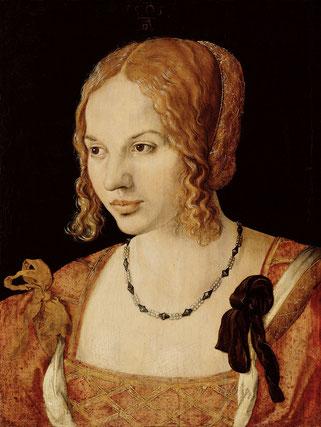 (35) Albrecht Dürer, Ritratto di giovane veneziana, 1505, olio su tavola di olmo, 32,5 x 24,2 cm, No. 6440, Kunsthistorisches Museum Wien / l'Austria