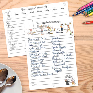 Gratis-Vorlage Essensplan Lieblingsrezepte Rezeptideen Familien