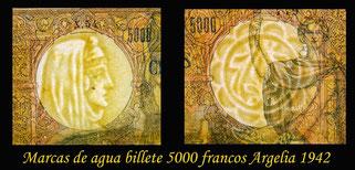 Argelia 5000 francos 1942 marcas de agua - filigranas