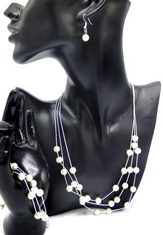 parure de bijoux perles argenté clic tendance