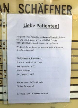 Die Zahnarzt-Praxis in Auersmacher hat bis zum 3. April geschlossen.