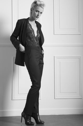 smoking femme col satin. Spencer sur mesure paris