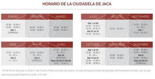 Horarios ciudadela de Jaca 2018