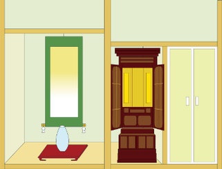 唐木仏壇の半間仏間設置イメージ