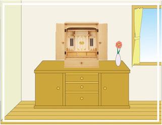 モダンタイプの神徒壇をリビングに設置