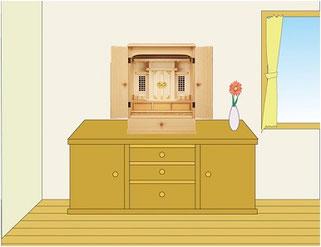 上置用神徒壇をサイドボードの上に設置イメージ