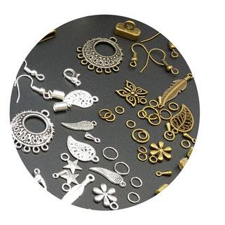 bijouterie argenté et bronze, apprêts Atelier Passions Indigo