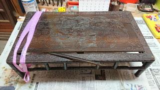 唐木の花台修理