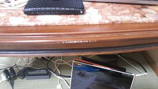 センターテーブル傷補修