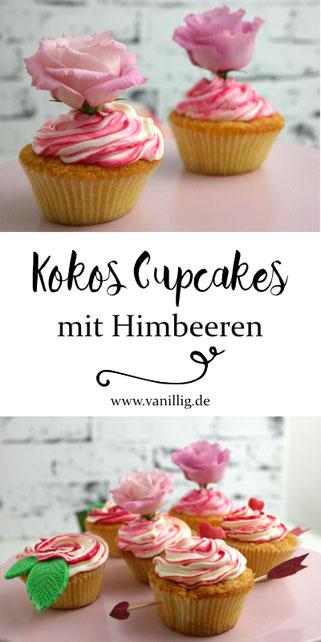 Kokos Cupcakes mit Frischkäse Frosting, Dekoration zum Valentinstag