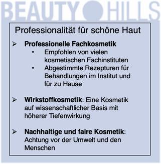 Beauty Hills, Kosmetik, professionelle Fachkosmetik für schöne gesunde Haut
