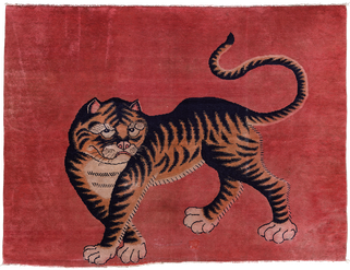 Pao Tao Teppich.  Tiger Teppich. Tiger rug. Tapis PaoTao ou Tibet. Tapis tigre. Tapis et kilims nomades. Zurich Suisse, www.kilimmesoftly.ch Zürich Schweiz