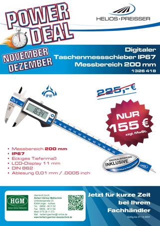 Helios Preisser - Werkstattmessschieber Messbereich 300 mm - Monatsangebot