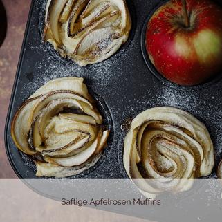 Saftige Apfelrosen Muffins mit Blätterteig