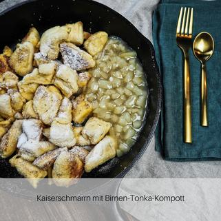 Kaiserschmarrn mit Birnen-Tonka-Kompott