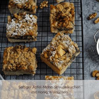 Apfel-Mohn-Streuselkuchen vom Blech mit Honig Walnüssen