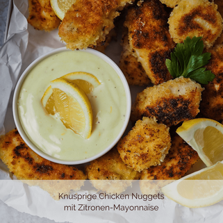 Knusprige Chicken Nuggets mit Zitronen-Mayonnaise