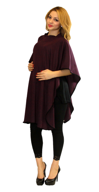 maternity poncho one size color grape