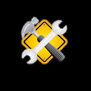 Gelber Button mit gekreuztem Zimmermannshammer und Schraubenschlüssel
