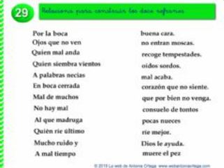 RELACIONA EL INICIO Y FINAL DE LOS REFRANES  (Estimulación, memoria y atenciónI