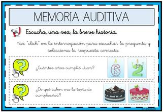 ESCUCHAR LA BREVE HISTORIA Y ORDENAR LOS DIBUJOS ADECUADAMENTE (Memoria auditiva)