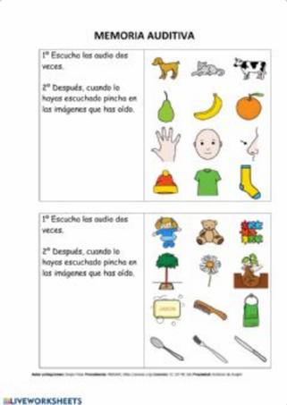 Memoria auditiva: Recordar 4 palabras y marcarlas