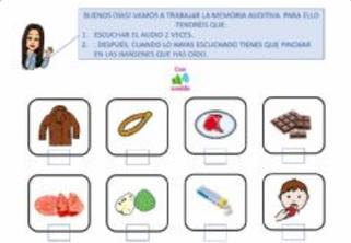 ESCUCHAR 2 VECES Y SELECCIONAR PALABRAS OIDAS  (Memoria auditiva)