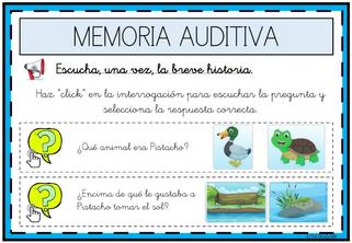 ESCUCHAR LA HISTORIA Y CONTESTAR A LAS PREGUNTAS ( Memoria auditiva)