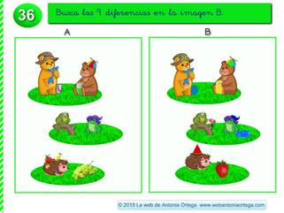 ENCUENTRA LAS 9 DIFERENCIAS EN LA IMAGEN B  (Estimulación, memoria y atención)