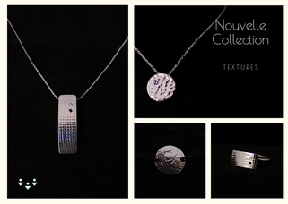 Collection Textures, bijoux en argent 925, incrustation motifs