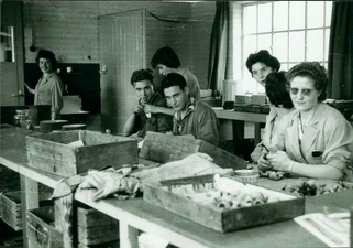1958 - Interieur van de fabriek van Trumm-Bergmans. Uiterst rechts Lies Meeuwis bezig met de vervaardiging van de houten Bruyere pijpen.