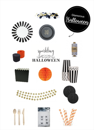 Bild: Halloween Deko Ideen - klassisch in Schwarz, Weiß, Orange und Gold, Produktideen für Partyware, gefunden auf Partystories.de