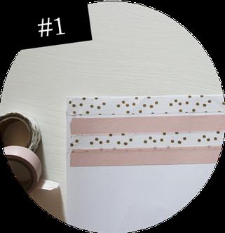 Bild: Notfall Konfetti als Geschenkidee einfach selber machen, DIY Anleitung für Konfetti, Schritt 1: Maskingtape aufkleben, gefunden auf Partytories.de
