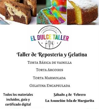 Taller de Repostería Básica y Gelatina - El Dulce Taller Margarita