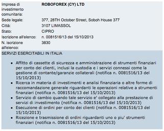 Licenza CONSOB Robooption