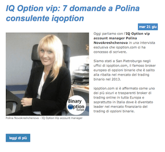 intervista consulente polina iq option vip