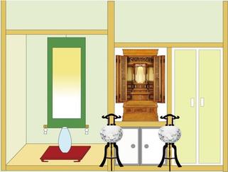 行灯を仏間の前に設置したイメージ