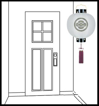 門提灯を玄関前に設置したイメージ
