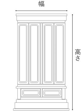 地袋付仏間用の神徒壇サイズ