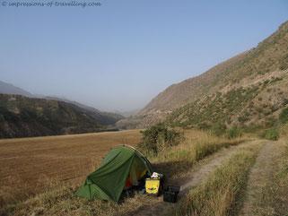 Campen östlich von Dushanbe