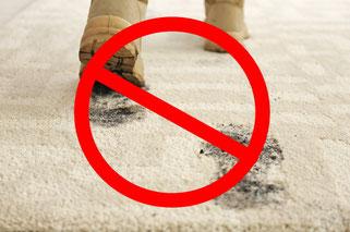 カーペットクリーニング:カーペットの汚れのの大半は、ドライソイル!パイルの摩耗原因