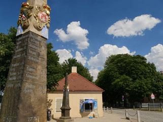 Alte Postsäule an der Schlossallee in Moritzburg