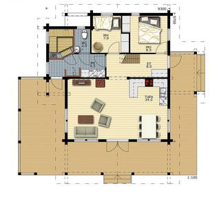 Ebenerdiges Blockhaus für Singles oder Paare -  Grundriss  - frei geplante Blockhäuser - Typenhäuser - Barrierefreiheit - Singlehaus - Kleines Wohnhaus
