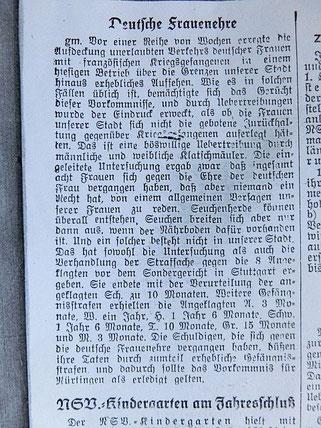"""Artikel """"Deutsche Frauenehre"""" im Nürtinger Tagblatt vom 22.12.1942, per Klick vergrößerbar und lesbarer"""