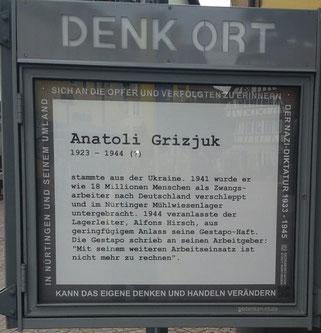 Denk Ort am 2. Juni, Erinnerung an Anatoli Grizjuk, Foto: Raya Fraenkel